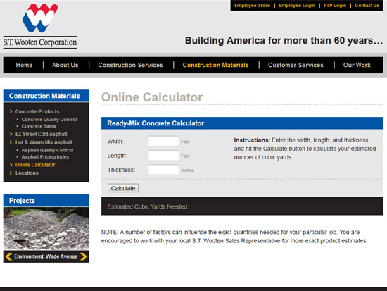 ST Wooten Corpotation - Concrete Price Calculator Page