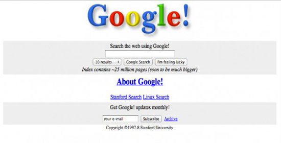 First Google Homepage Design