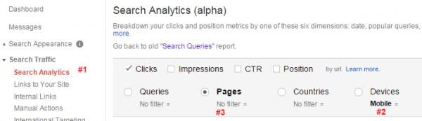 Google Webmaster Tools Search Analytics Report for Top Mobile Pages