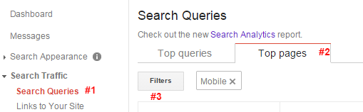 Google Webmaster Tools Search Query Report for Top Mobile Pages