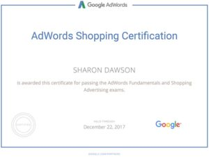 Google AdWords Shopping Certification Sharon Dawson