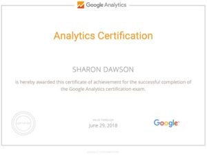 Google Analytics Certification Sharon Dawson