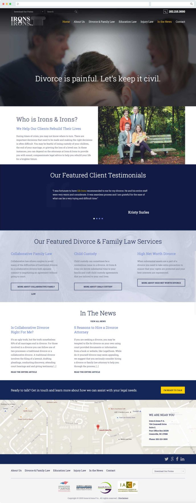 Irons & Irons Law Firm Website Design - TheeDesign