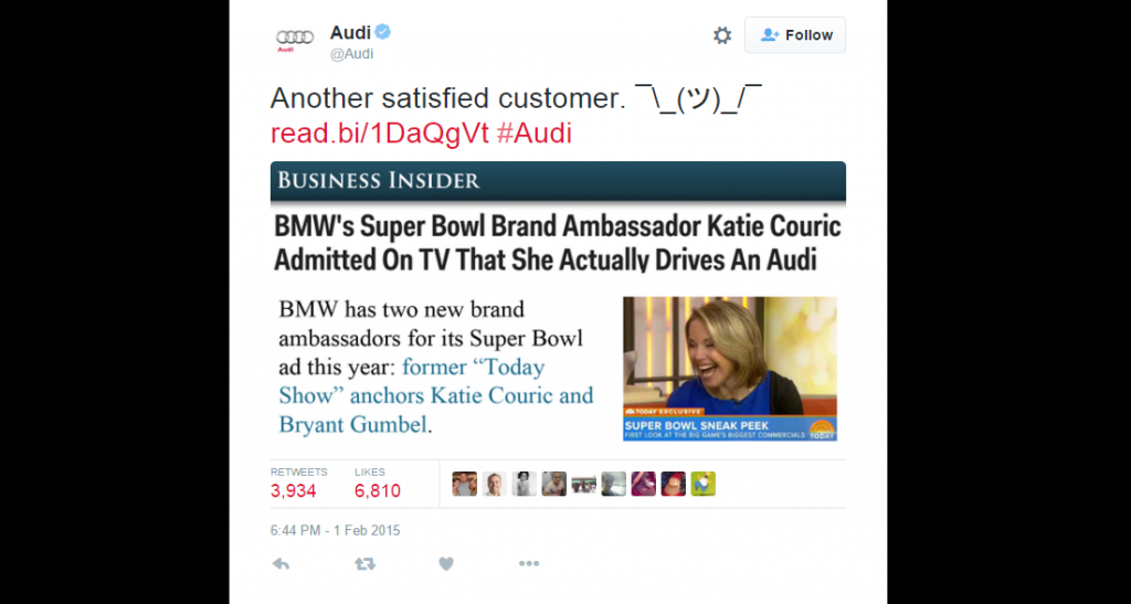 audi major brand tweet super bowl