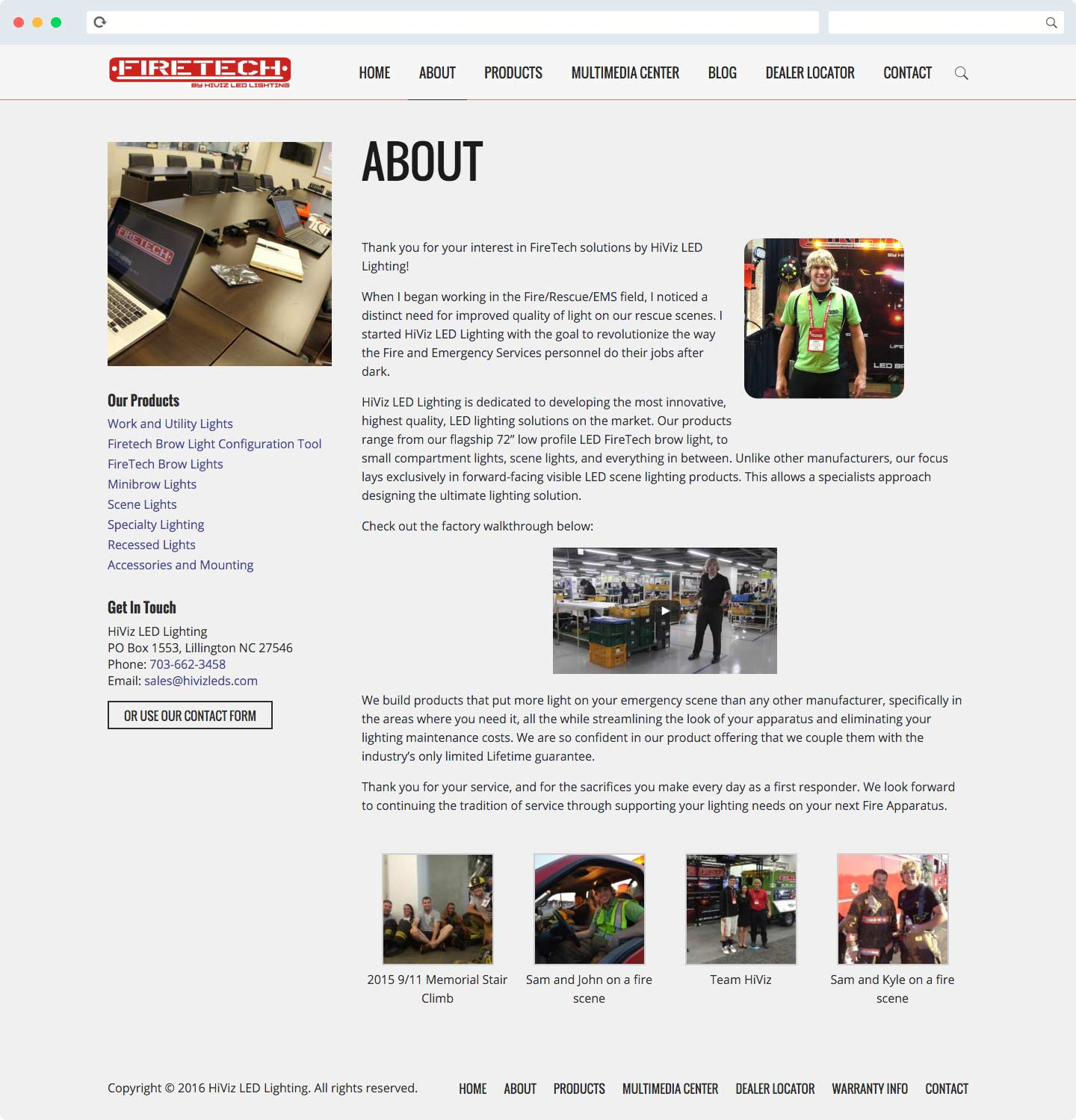 HiViz LED About Page Design