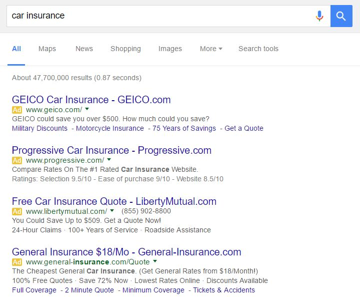 "Google SERPs for ""car insurance"""