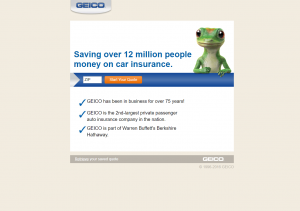 PPC Landing Page Example: Geico
