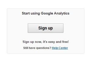 Google Analytics Sign Up button