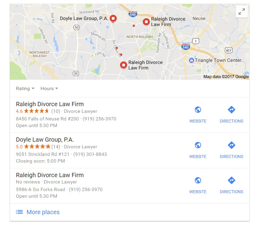 Google Local 3-Pack for Attorneys