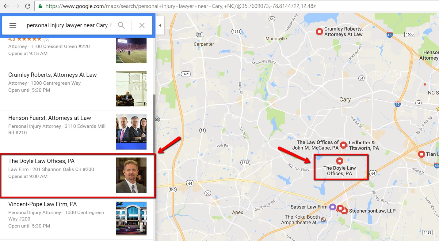 Attorney Appearing in Google Maps