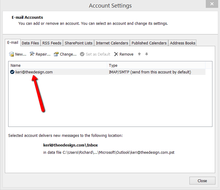 Outlook for Windows - Click Email Account