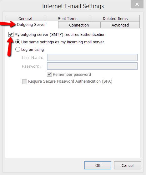Outlook for Windows - Server Settings