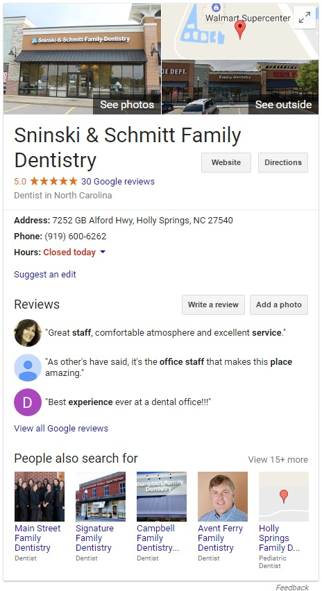 an example Knowledge Graph for a dental Google Business listing