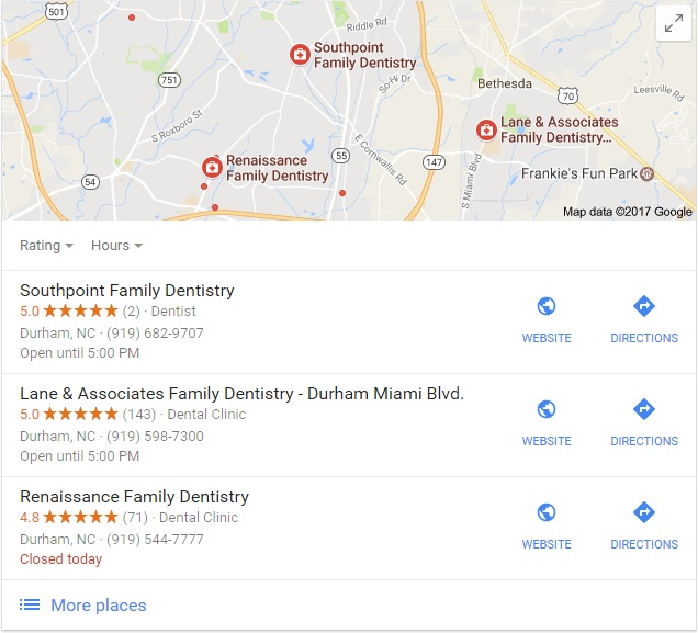 an example of a Dental Google Maps 3-pack