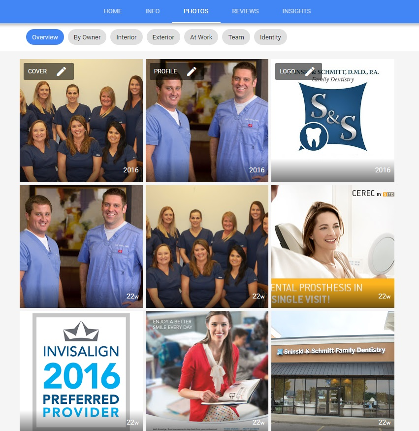 example photos page for a Google Business listing for Dentists