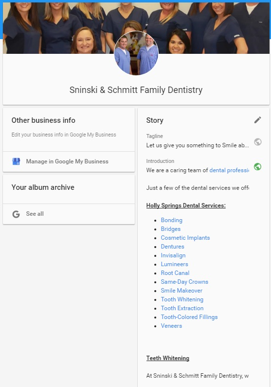 example story page on a Google Business listing for a Dentist