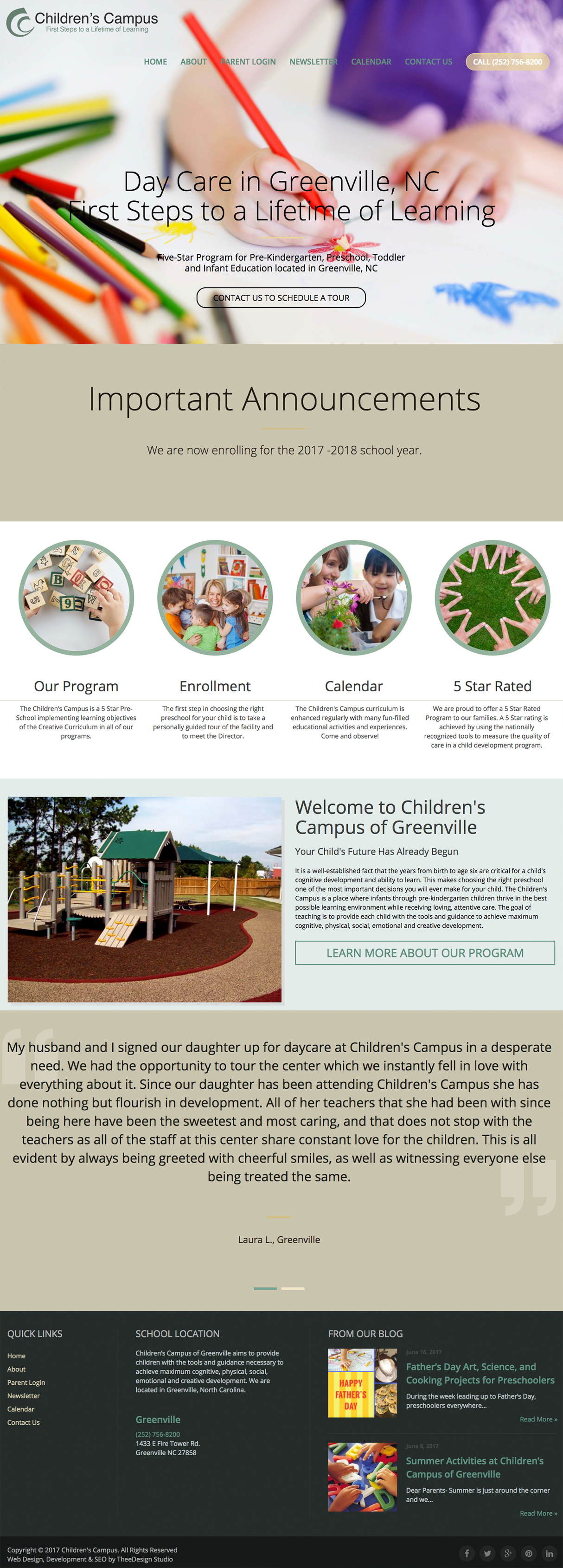Childrens Campus of Greenville website by TheeDesign