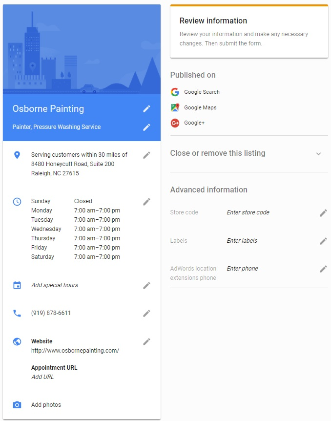 An example Google Business information form