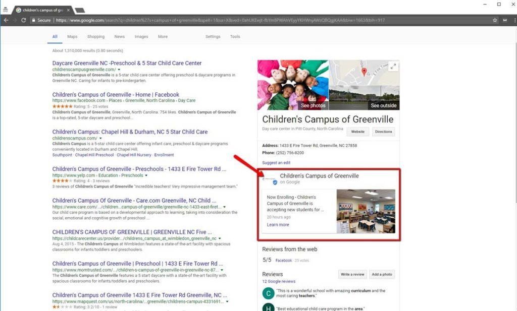 Childrens Campus of Greenville Leverages Google Posts for Enrollment