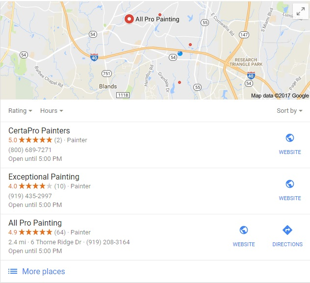 "an example Google Business 3-pack search for ""Durham Painter"""