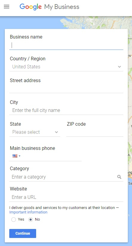 a blank form for claiming a Google Business listing