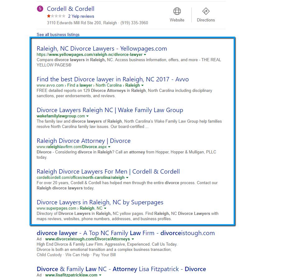 6 Organic Results in Bing