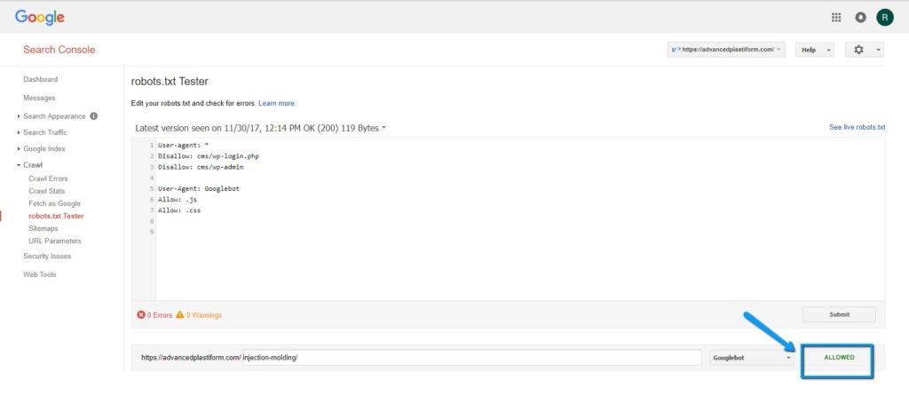 Αναζήτηση Google Κονσόλα Robots.txt