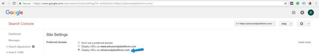 Αναζήτηση Google Κονσόλα ορίστε την προτιμώμενη τομέα