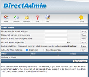 Email filters in DirectAdmin