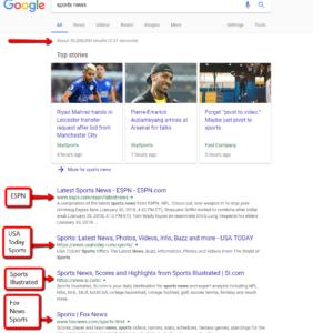 keywords search result