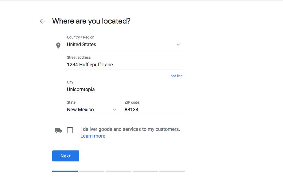 Business Address - Google My Business
