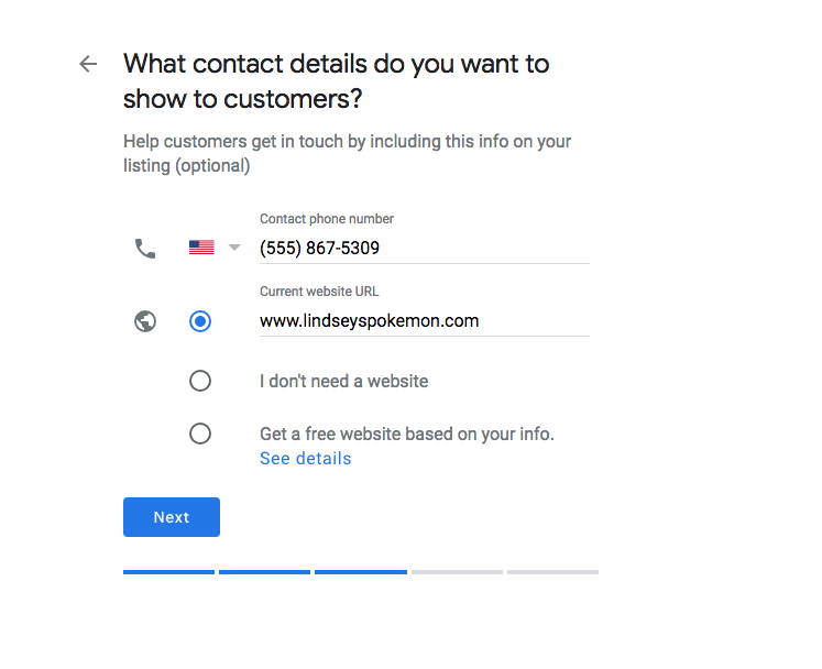 Contact Information - Google My Business
