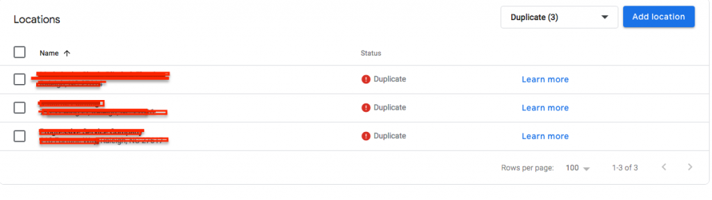 Duplicate Listings Section in Google My Business