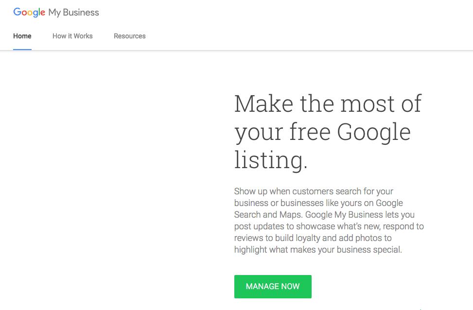Google My Business Homepage