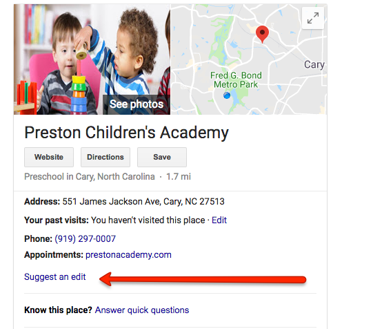 Suggest an Edit on a Google Listing